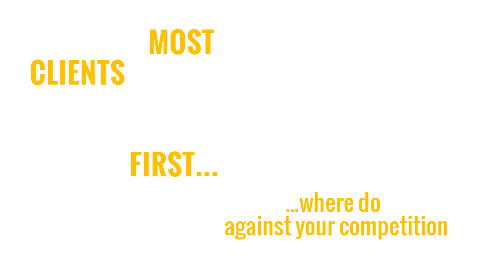 AND WITH MOST CLIENTS FINDING YOU ON GOOGLE FIRST…  …where do you rank against your competition?